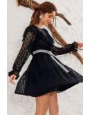 Daria Transparent Black Skater Dress