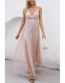 Celeste Evening Dress in Nude Pink