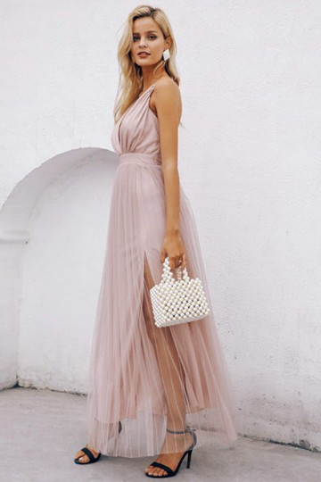 Celeste Evening Dress in Nude Pink
