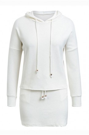Ulka Hooded White Knit Dress