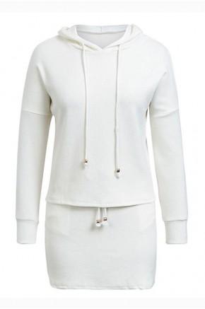Ulka Hooded White Knit Dress