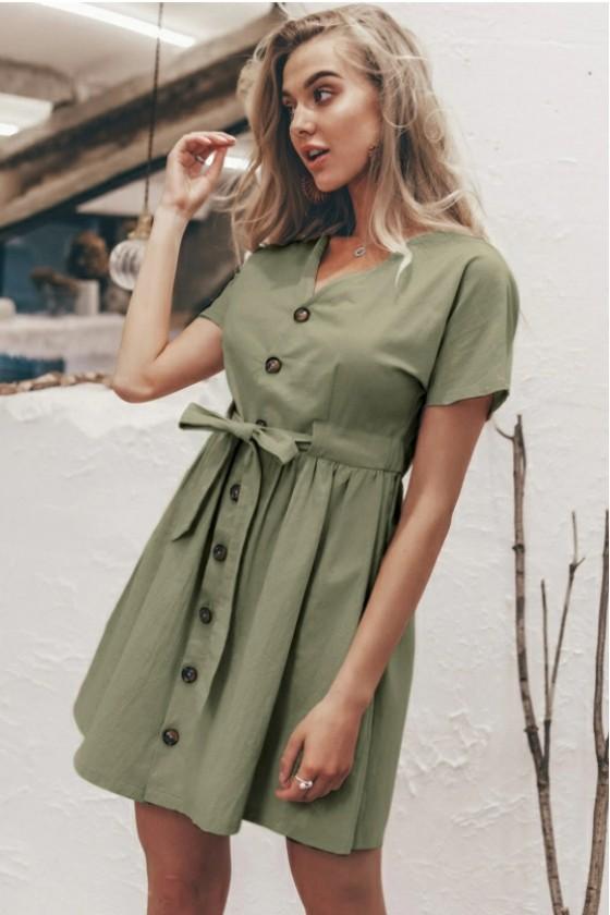 Erin Casual Button Dress in Green