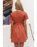 Erin Casual Button Dress in Orange