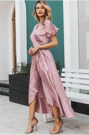 Ella Wrap Midaxi Dress in Rose