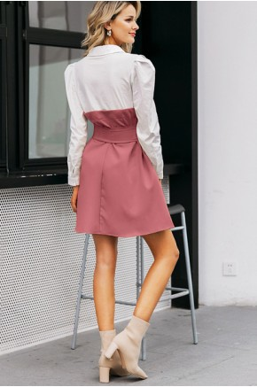Caitlin Patchwork Dress in Rose