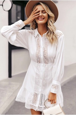 Ziv Crochet-Insert Dress in White