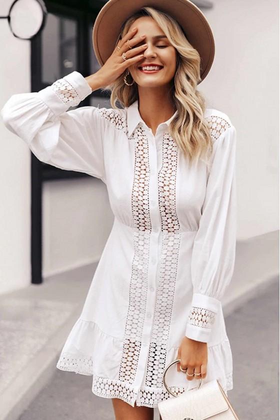 Ziv Crochet-Insert Dress in White
