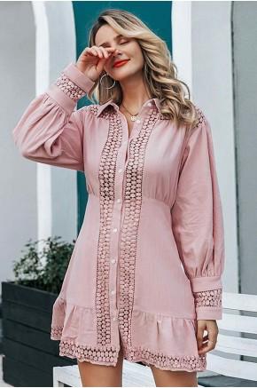 Ziv Crochet-Insert Dress in Pink