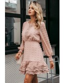 Calais Lace Skater Dress in Pink