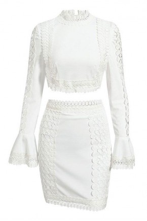 Ianthe Two Piece White Lace Dress