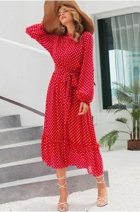 Luna Sheer Chiffon Dress in Red