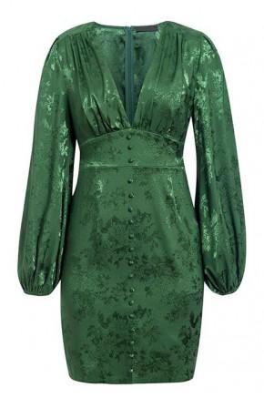 Valerie Lantern Sleeve Green Dress