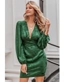 Valerie Lantern Sleeve Green Dress