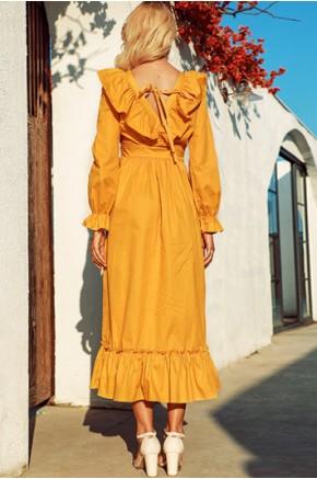 Dae Long Sleeve Yellow Ruffles Dress