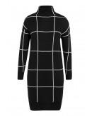 Uzuri Knit Dress in Check-Black