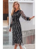 Quenna Sequined Dress in Black