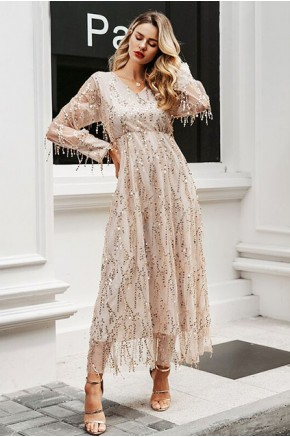 Quenna Sequined Mesh Maxi Dress