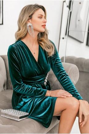 Ree Crystal Embellished Velvet Dress