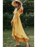 Ayla Ruffle Wrap Dress in Mustard