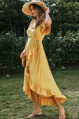 Ayla Ruffle Wrap Dress in Mustard