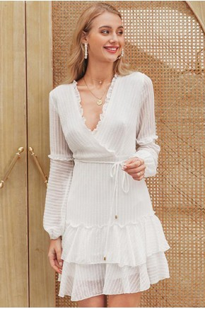 Lee Textured Ruffle Dress in White
