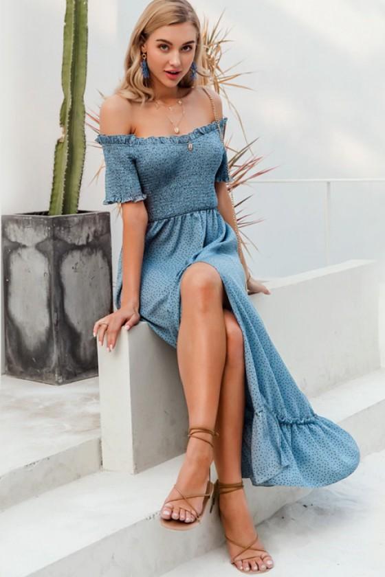 Iva Shirred Sundress in Blue