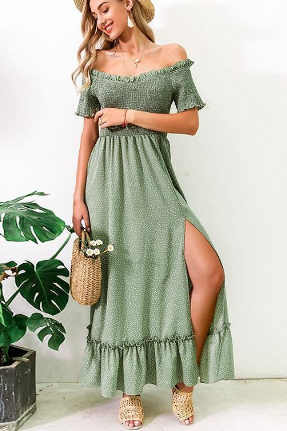 Iva Shirred Sundress in Green