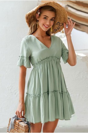 Kailynn Fit Flare Dress in Green