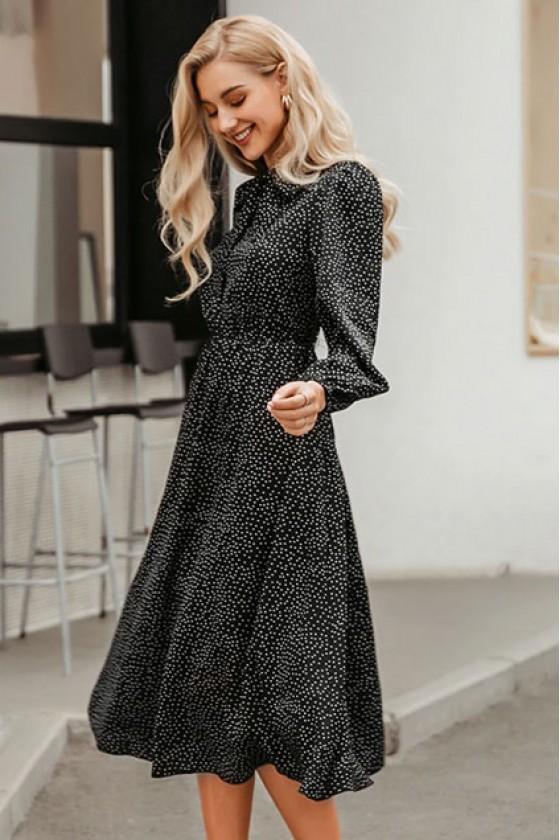 Yesenia Polka Dot Black Dress