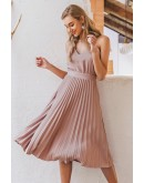Lora Pleated Dress in Pink