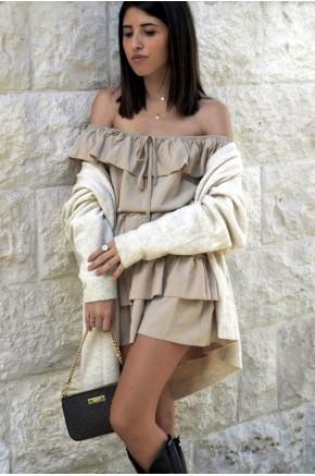 Karine Off Shoulder Ruffles Dress