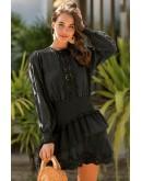 Eva Shirred Waist Dress in Black
