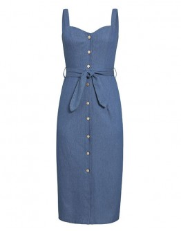 Agathe Button Up Denim Sundress