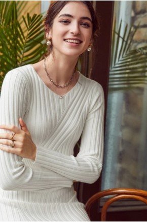 Yara Midi Dress in Textured Stripe