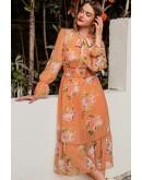 Tessa Pussy-Bow Boho Dress