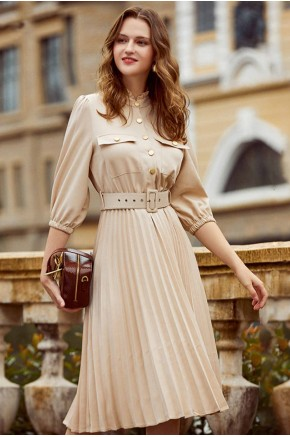 Barbara Pleated Midi Dress