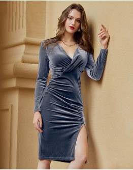 Soraya Blue Draped Dress