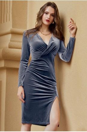 Soraya Blue Draped Dress