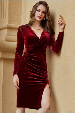 Soraya Wine-Red Draped Dress