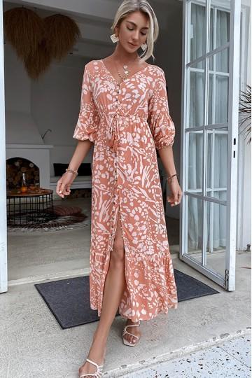 Hagir Robe Dress in Floral Print