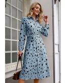 Trisha Leopard-Print Dress in Blue