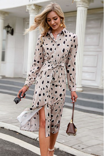 Trisha Leopard-Print Robe Dress