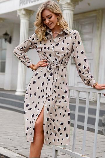 Trisha Leopard-Print Robe Dress