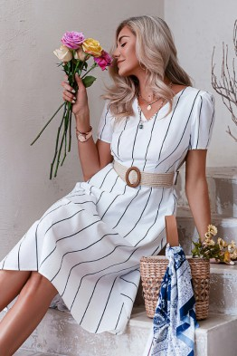 Angelina Striped Midi Dress