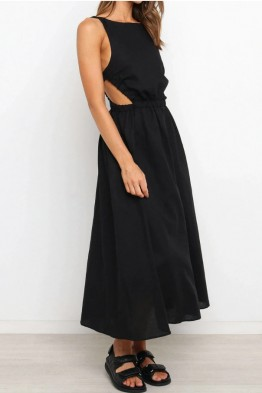 Tahlia Modern Backless Dress in Black