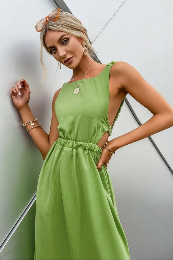 Tahlia Modern Backless Dress in Green