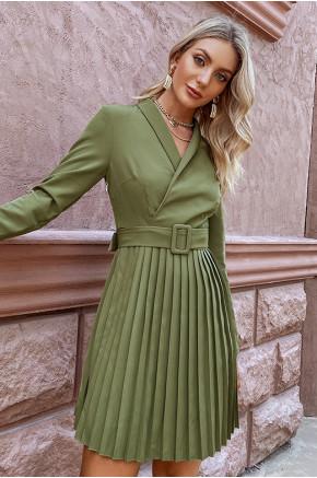 Patrice Pleated Mini Dress in Green