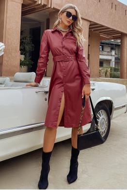 Ava Faux Leather Buttoned Midi Dress