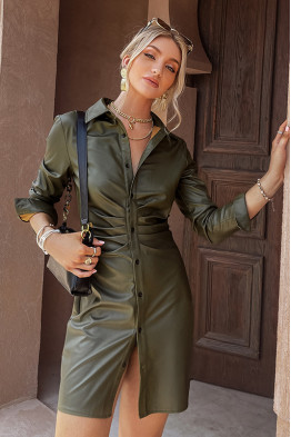 Amy Ruched Front Shirt Dress