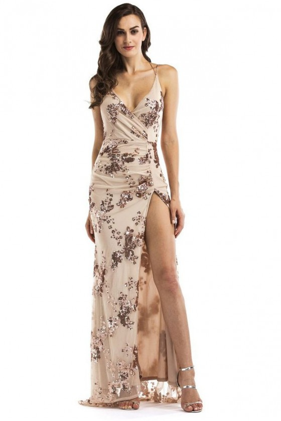 Edessa Sequin Maxi Dress in Beige